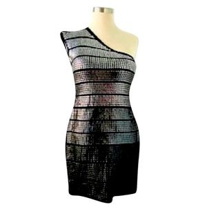 One-shoulder sequin party dress | size L